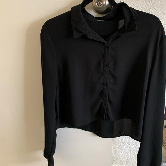 Tops - Crop top, silky long sleeve blouse